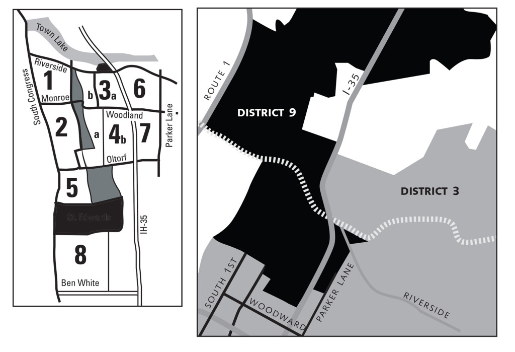 LEFT: SRCC Area Map  RIGHT: With 10-1 districting, SRCC is in two districts, No. 9 and No 3. Illustration based on http://austinredistricting.org/Final/ab9Plan1120.kmz